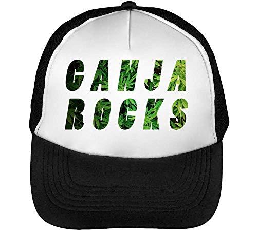Beisbol Rocks Blanco Hombre Cannabis Fashioned Leaf Negro Gorras Ganja Snapback azUqT6T