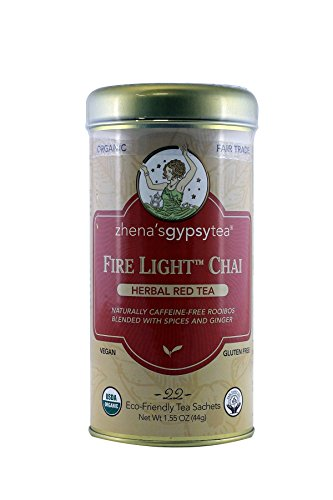 - Zhena's Gypsy Tea,Herbal Red Tea Fire Light Chai, 22-Count Tea Sachets (Pack of 6) Net Wt 1.55 Oz