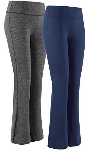 SERHOM Women Boot Cut Yoga Pants 4 Way Stretch Bootleg Yoga Pants Leggings with Hidden Pockets
