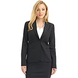 Rekucci Collection Women's Blazer with Single Button Reese Pocket (14,Charcoal)