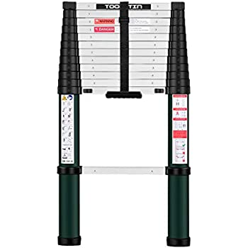 Toolitin Telescoping Ladder,12.5 FT One Button Retraction Aluminum Telescopic Extension Ladder,Slow Down Design Extendable Ladders Portable Best for Household Daily or RV Work,330 Pound Capacity...