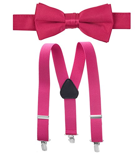 Hold'Em Suspender and Bow Tie Set for Kids, Boys, and Baby -Fuschia 26