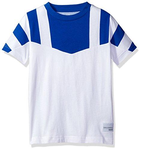 adidas Originals Big Boys' EQT Color Blocked Tee, White/Blue/Colorblock, S (Color Blocked Crew Neck Tee)