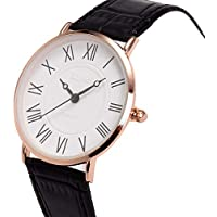 Wrist Watch Mens Ultra-Thin Minimalist SIBOSUN Quartz Black Leather Strap Classic Roman Numerals Anolog