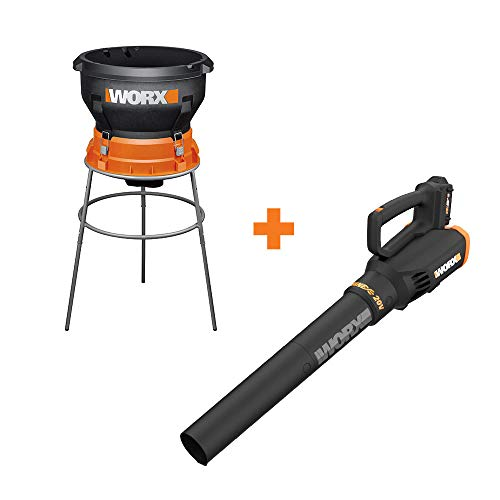 WORX WG430 13 Amp Foldable Bladeless Electric Leaf Mulcher w Power Share Cordless Turbine Blower