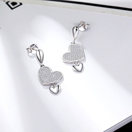 925 Sterling Silver Crystal Double Love Heart Dangle Drop Earring Set Jewelry Sets for Women Girl by EURYNOME (Image #1)