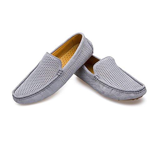 shoes Genuino Xiazhi Hueco Barcos para livianos para Hombres Mocasines Superior con Gris Cuero Mocasines advpqwAd
