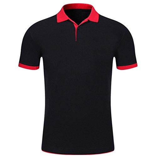 Polo Homme Noir01 shirt T Comfy Courtes Manches Solid Top Blouse Été Malloom Button Slim 6aHdHw
