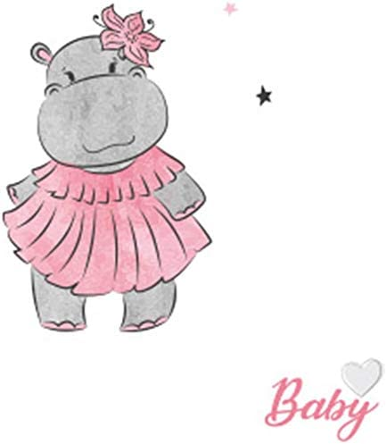 Linge de Lit Literie pour Enfants 100x135+40x60 Hippo Rose Linge de Lit B/éb/é 100/% Coton