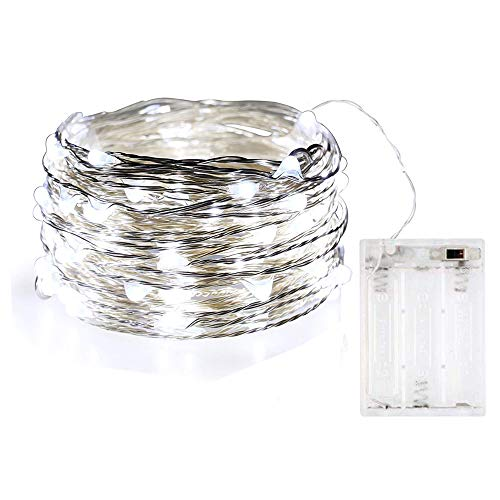 BOLWEO 10Ft/3M Copper Wire 30 LEDs Cool White LED String Light,Battery Operated Christmas Fairy Lights,Waterproof Indoor Outdoor Christmas Tree Home Bedroom Decoration