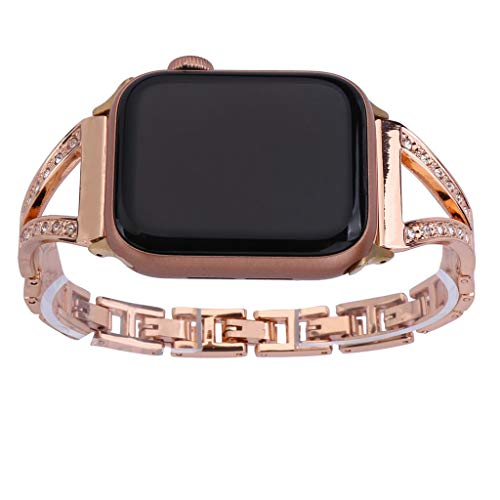 JDgoods Metal Band Compatible with Apple Watch 38/40mm 42/44mm, Luxury Shining Diamond Rhinestone Replacement Wristbands for Women with Apple Watch Series 4 3 2 1 (Rose Gold, 38mm/40mm)