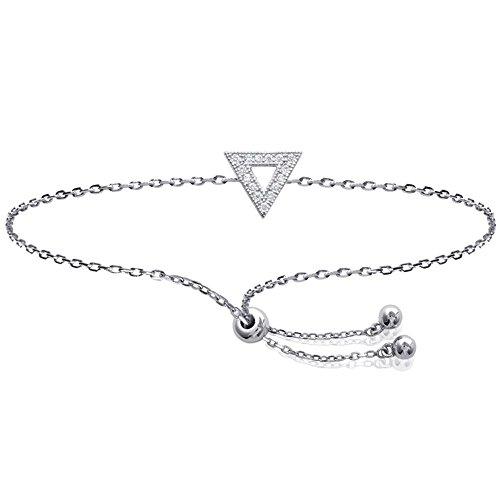 Bracelet en Argent 925/000 Rhodié et Oxyde de Zirconium - Triangle - Bijou Femme