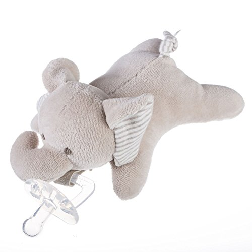 Benaturalbaby Organic Cotton Elephant - Soft Toy and Infant Pacifier - Stuffed Animal Plush Elephant Pacifier Holder ( Includes Detachable Pacifier, Use with Multiple Brand Name Pacifiers), 7.5 inch