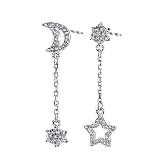 Pearl Moon Earrings - I's 925 Sterling Silver Zirconia Crystal Shell Pearl Drop Dangle Earrings for Women (Star & Moon Crystal)