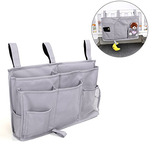 Pinji 8 Pockets Bedside Storage Bag Caddy Hanging Organizer Pockets for Headboards, Bed Rails, Dorm Rooms,Bunk Beds, Hospital Beds Grey