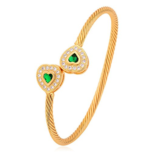 U7 4mm Solid Bangle Green Cubic Zirconia Heart End 18K Gold Plated Twisted Cuff ()