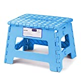 Acko 9-inch Plastic Folding Step Stool Holds up to 250 lb Light Blue