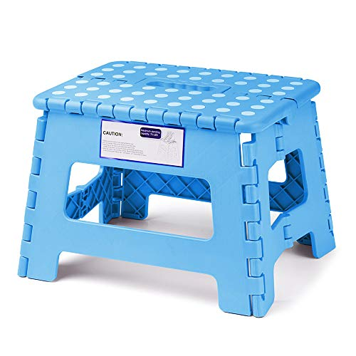 Acko Folding Step Stool Lightweight Plastic Step Stool,9 inch Foldable Step Stool for Kids and Adults,Non Slip Folding Stools for Kitchen Bathroom Bedroom (Blue)