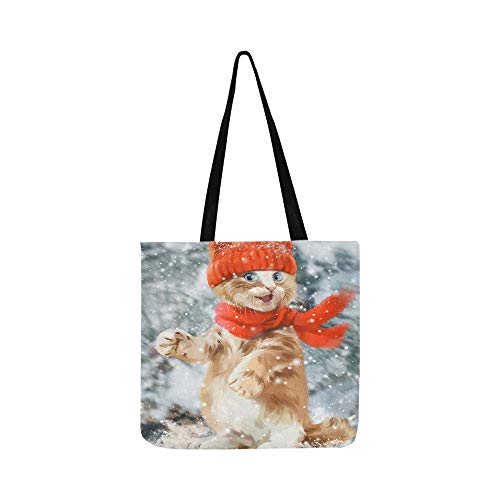The Cat In The Hat Watercolor Painting Canvas Tote Handbag Shoulder Bag Crossbody Bags Purses For Men And Women Shopping Tote
