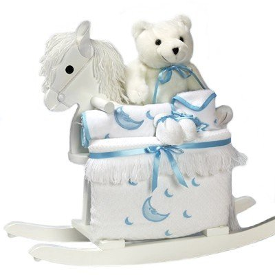 White Rocking Horse Baby Boy Gift Set - Includes Stuffed Bear & Layette in Blue Accents by Gifts to Impress