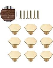 Messing knoppen handvat, 6 stuks lade bureaus deurgrepen, massief messing lade knoppen, met schroeven, voor thuis en kantoor, keukenkasten, dressoirs, nachtkastjes, schoenkasten (gouden)
