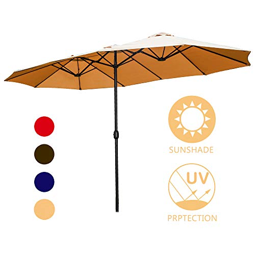 LOKATSE HOME 15 Feet Double-Sided Market Patio Outdoor Twin Umbrella with Crank, 2 Middle -