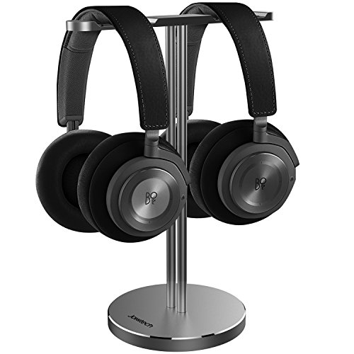 Double Headphones Stand, Jokitech Aluminum Alloy Desk 3 Headset Holder Supporting Desktop Earphone Hanger Mount Storage Rack with Heavy Base for Home and Office Display Spacegrey