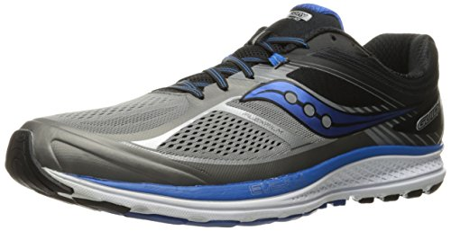 Saucony Men's Guide 10 Running Shoes, Grey Black, 12 D(M) US