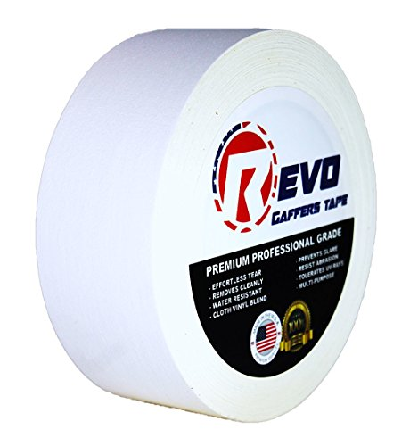 """REVO Premium Professional Gaffers Tape (2"""" x 30 yards) MADE IN USA (WHITE GAFFERS) Non Reflective Tape- Camera Tape- Better than Duct Tape (Black, Gray, Green, Red, White, Yellow) SINGLE ROLL"""