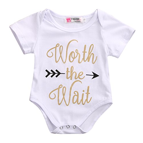 Infant Baby Golden Shiny Words Print Arrow Pattern Romper Bodysuit Outfits (0-3 M, White)