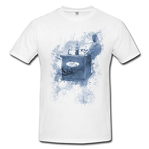 Kaffemuehle Vintage Herren T- Shirt , Stylisch aus Paul Sinus Aquarell Cyan