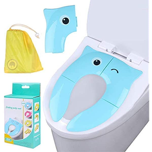 Pink Garosa Non Slip PP Material Travel Folding Portable Reusable Toilet Potty Training Seat Covers Liners for Adult Kids Babies Toddlers