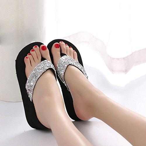 Bohemian Toe Sandals Summer Flip Heels Soft Sale 5 Hot Sliver Casual Design Open Flops High US 5 5 Coromose Wedge Shoes Women's 7 ApXpqwC