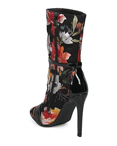 Alrisco Femmes Bout Rond Ceinturé Boot Stiletto - Hf55 Par Cape Robbin Collection Fleur