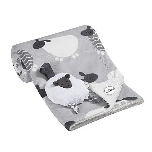Lambs & Ivy Blanket w/Stroller Toy - Sheep - Gray, White, Animals, Sheep