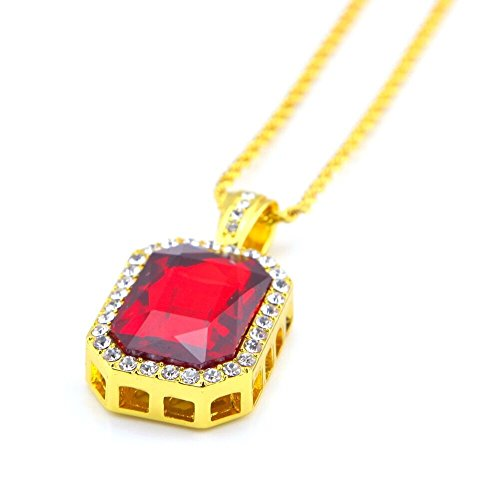 (Cy-Trendy Square Red Ruby Gem Stone Pendant and Yellow Gold Tone Rope Chain Necklace 3mm 24' (Red Ruby))