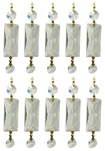 Royal Designs Replacement Chandelier Clear Crystal Prism K9 Quality Rectangle Center Diamond Cut and Hanging Bead Prism with Polished Brass Connectors and an extra Octogan Crystal Bead Pack of ()