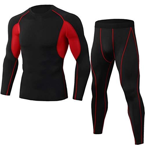 2Pcs Men's Tracksuit Suit Elastic Fitness Sports Tight