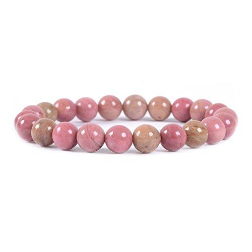 Justinstones Natural Pink Rhodonite Gemstone 8mm Round Beads Stretch Bracelet 7