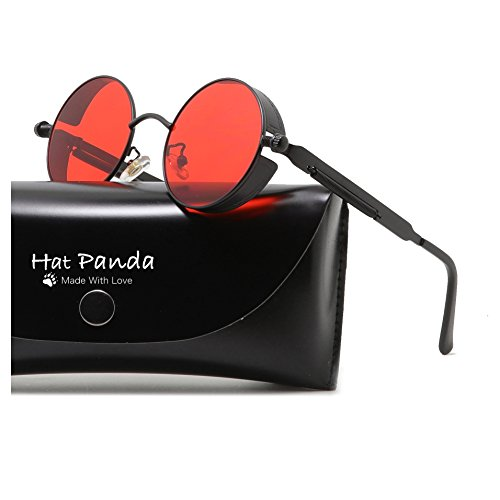 Round Steampunk Sunglasses Retro John Lennon Sunglasses For Men And Women (Black & Clear Red, - Red All Clear Round Sunglasses