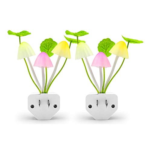 2Pack LED Night Light, Hirosa Color Changing Nursery Mushroom Light Plug in Wall Lamp with Dusk to Dawn Sensor for Kids Baby Adults Sleeping ()