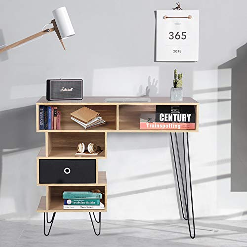 Aingoo Student Desk with Shelf Storage Wooden Computer Writing Desk Beigh for Wooden MDF