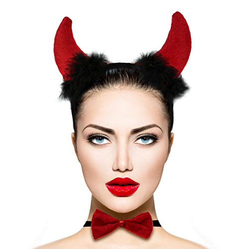 Ears Devil (Lux Accessories Red Fluffy Devil Ears Stretch Headband Sexy Bowtie Bendable Tail Halloween Holloween Costume)