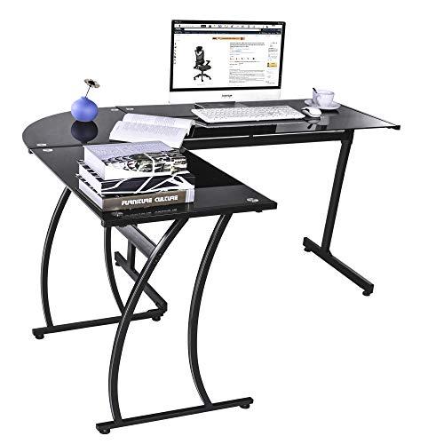 (GreenForest Office Desk Corner L Shaped Workstation Laptop Table (Black Glass))