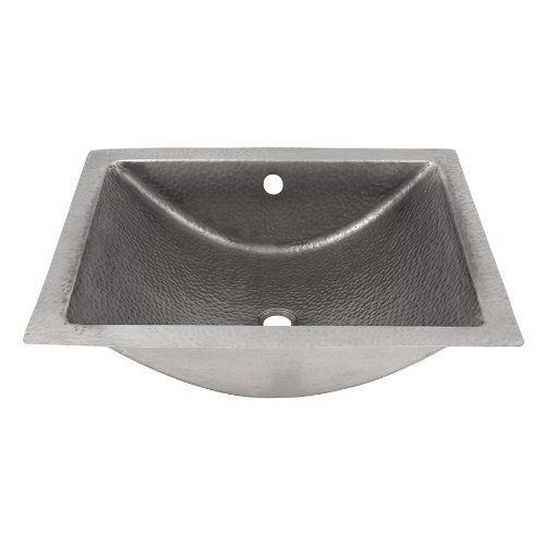 The Copper Factory CF169SN Solid Hand Hammered Copper Concave Undermount Lavatory Sink, Satin Nickel