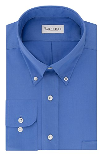 (Van Heusen Regular Fit Twill Solid Button Down Collar Dress Shirt, Cobalt, Medium)