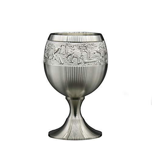Oriental Pewter – Copa de licor de estaño puro 97% sin plomo G6L tallada a mano hermoso en relieve hecho a mano en...