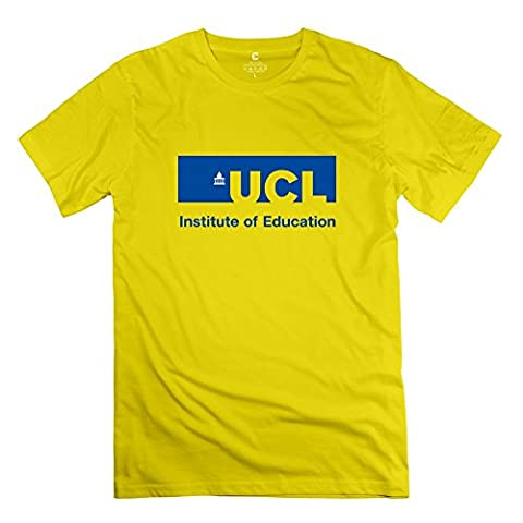 HEJX University College London Humor Men's O Neck T-Shirt Yellow US Size M (Alienware Andromeda)