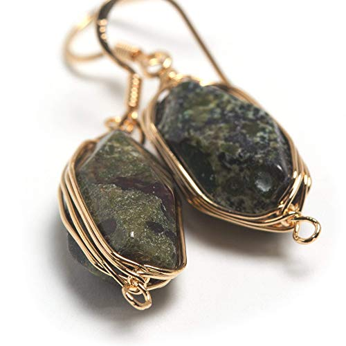 Natural Stone Wire Wrap Dangle Drop Earrings Gold Plated 925 Sterling Silver Hook/Dragon Blood Jasper