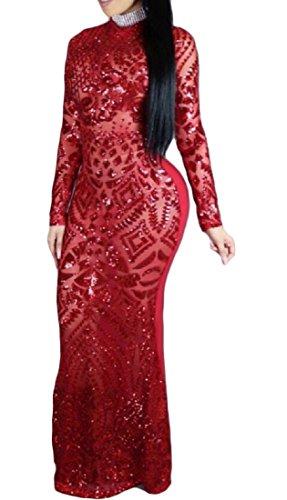 Scintillante Sequin Aperta Coolred Rosso donne Filato Netto Vestito Posteriore Giunzione E5qqPtw